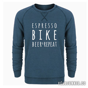 espresso bike beer repeat sweater velojunkie